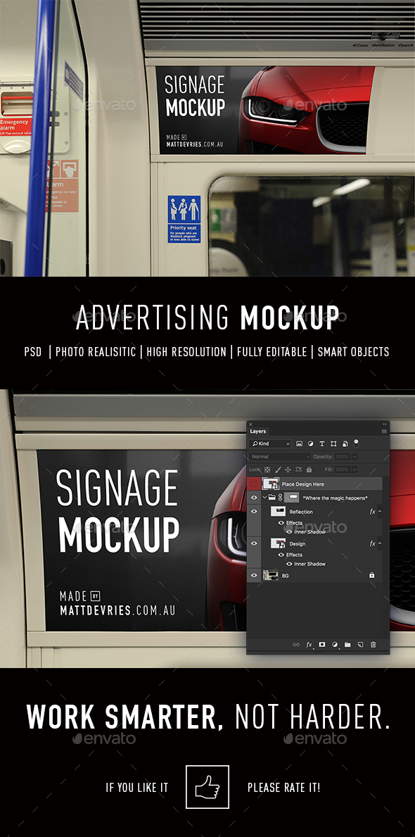 Smart Signage Advertising Mockup PSD Template - Signage Print