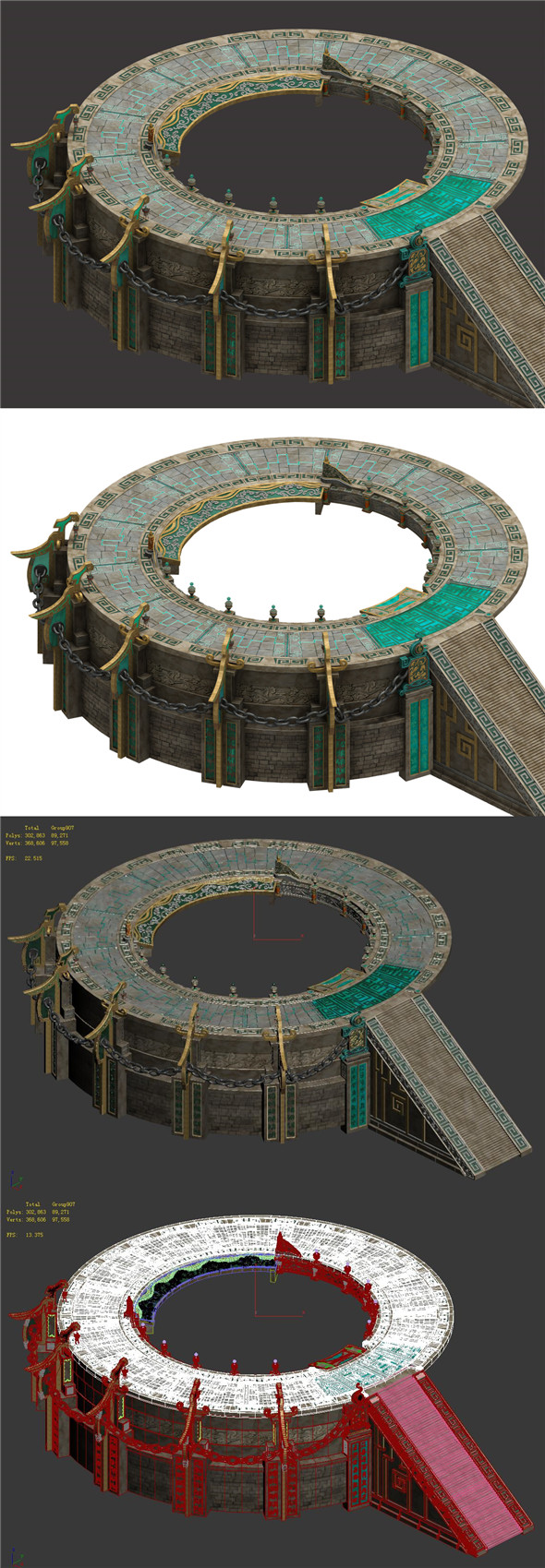 Staircase round platform - temple hall - 3DOcean Item for Sale