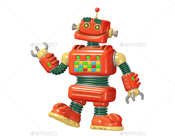 Cartoon Red Robot 3D Illustration - Characters 3D Renders