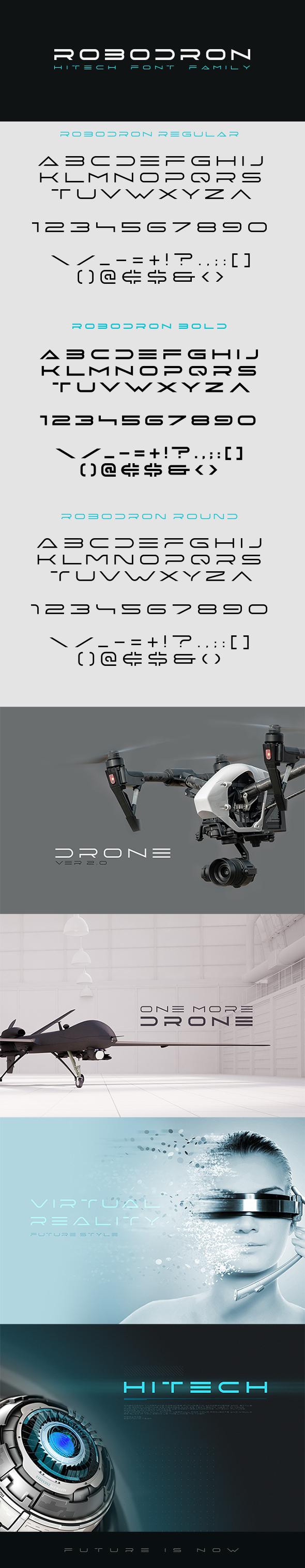 Robodron Font - Futuristic Decorative