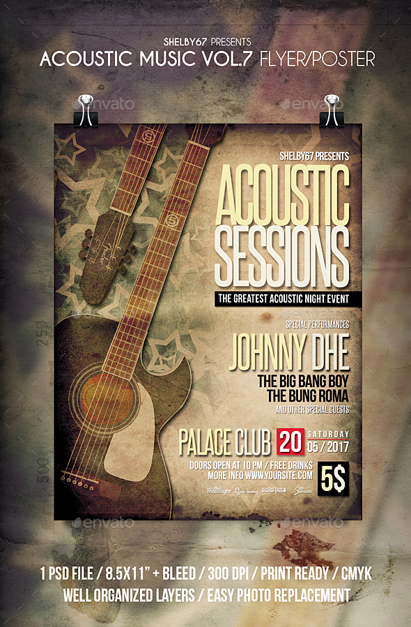 Acoustic Music Flyer / Poster Vol 7 - Events Flyers