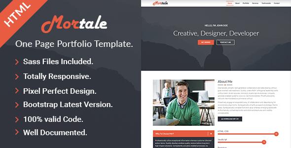 Mortale | One Page Personal Portfolio HTML Template