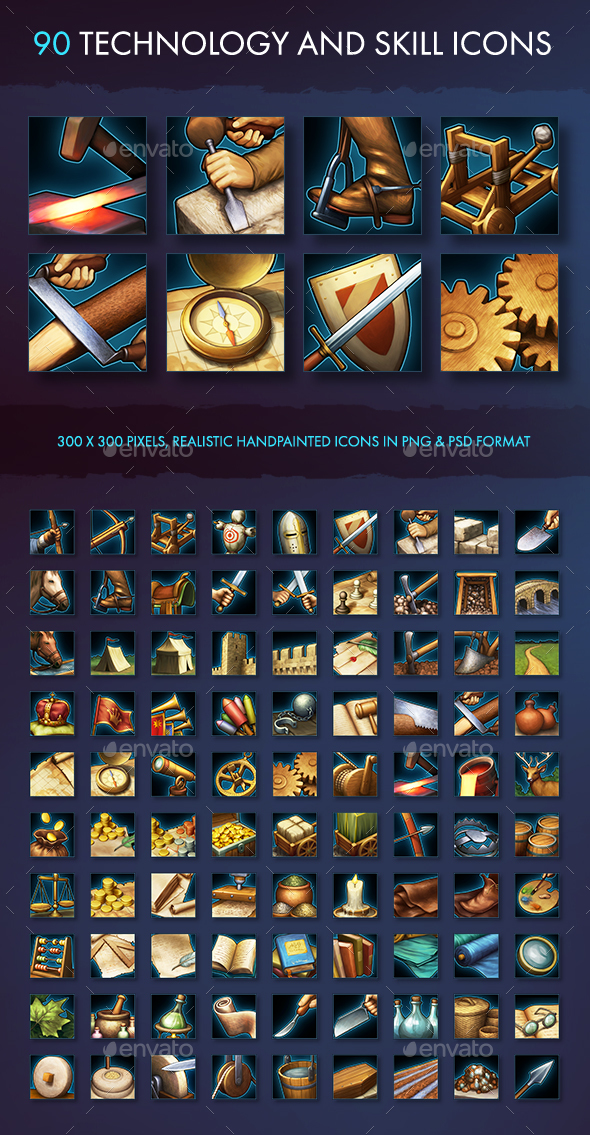 Technology and Skill Icons - Miscellaneous Game Assets
