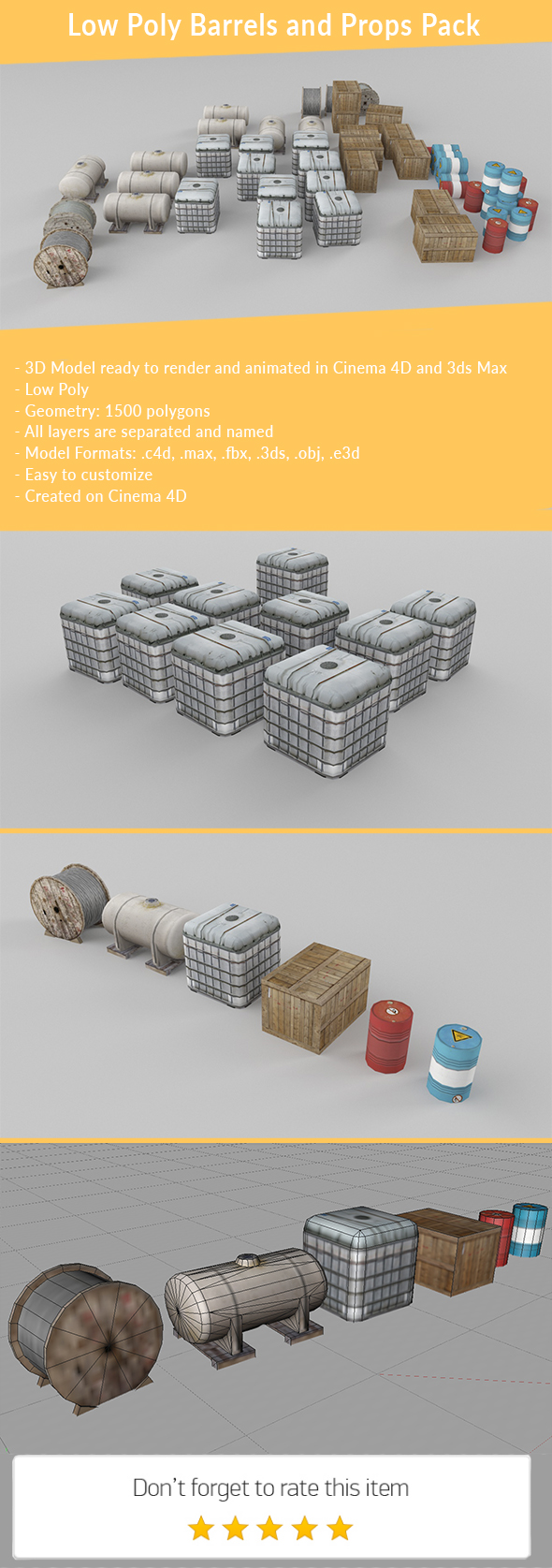 Low Poly Props Pack - 3DOcean Item for Sale