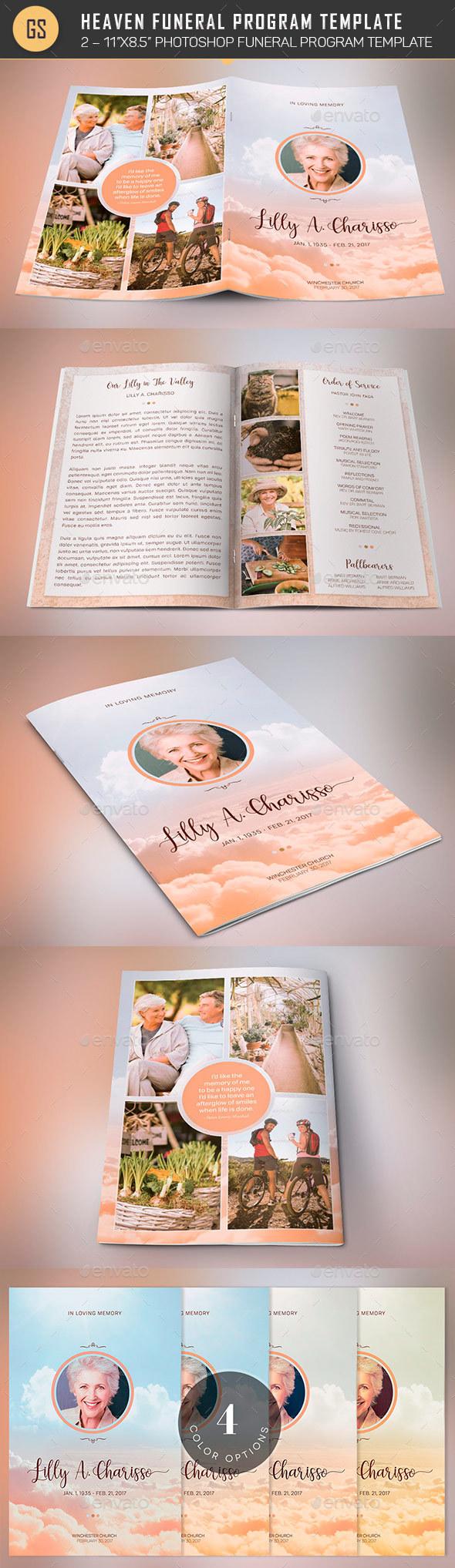 Heaven Funeral Program PSD Template - Informational Brochures