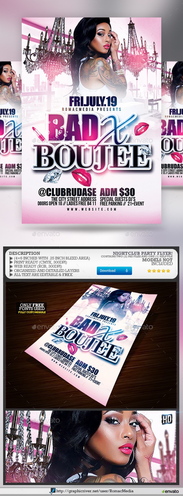 Bad X Boujee Club Party Flyer - Clubs & Parties Events