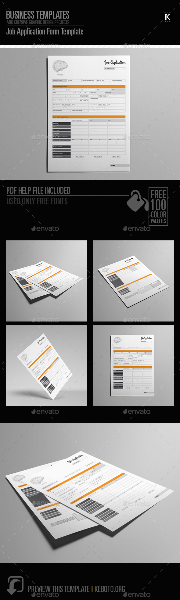 Job Application Form Template by Keboto | GraphicRiver