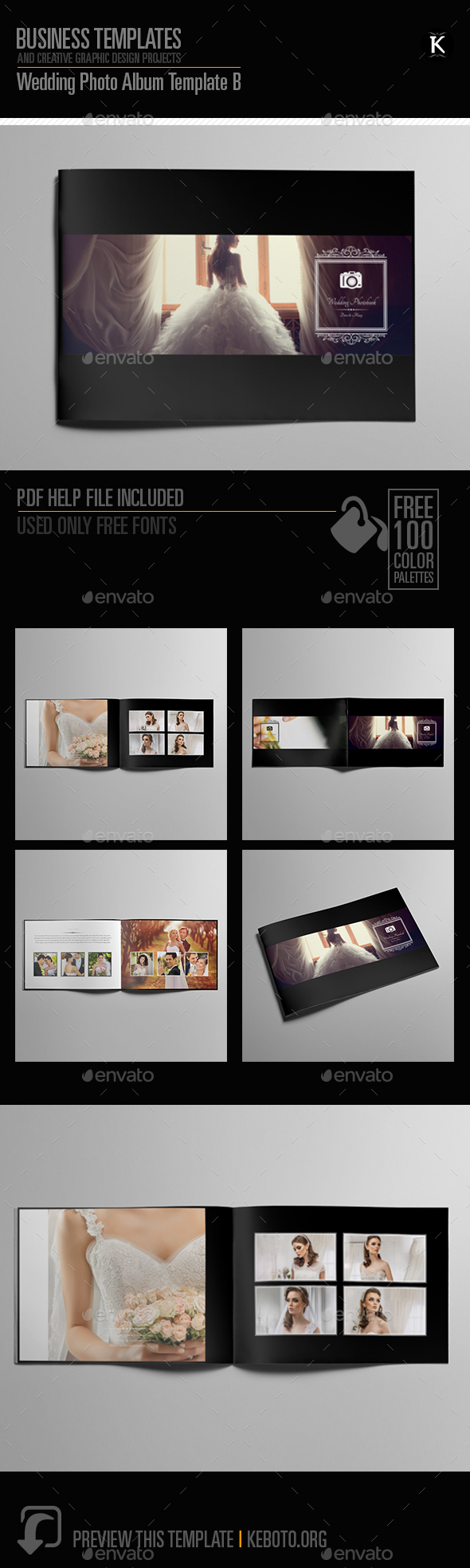 Wedding Photo Album Template B - Photo Albums Print Templates