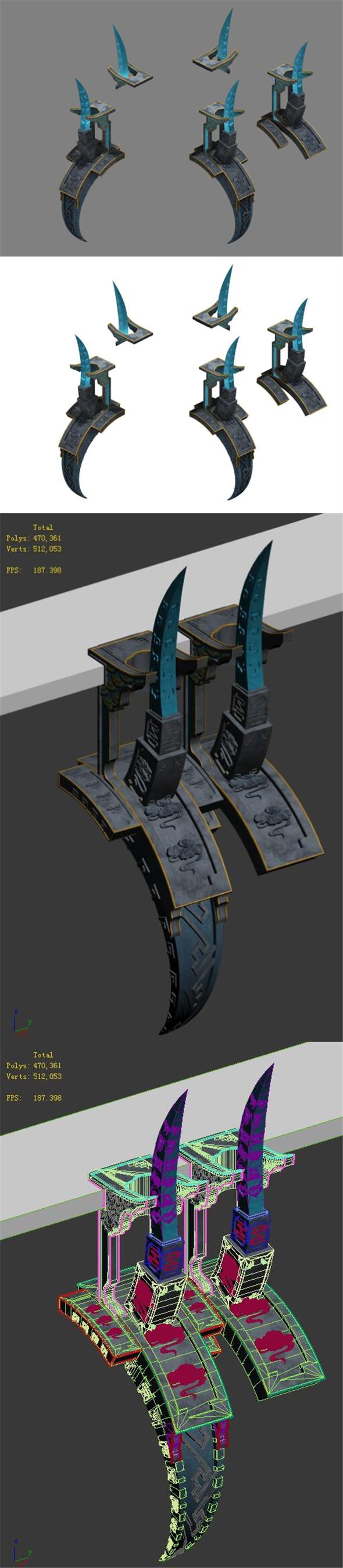 Magic City - roadside pillars - 3DOcean Item for Sale