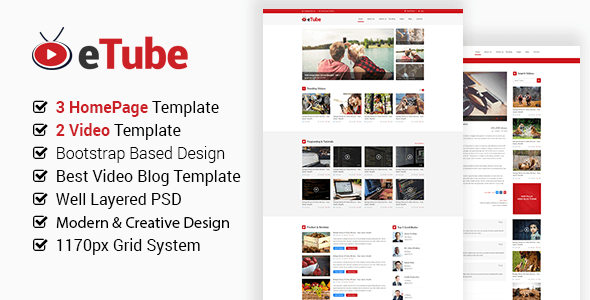 eTube - Video Blog Site PSD Template - Entertainment PSD Templates