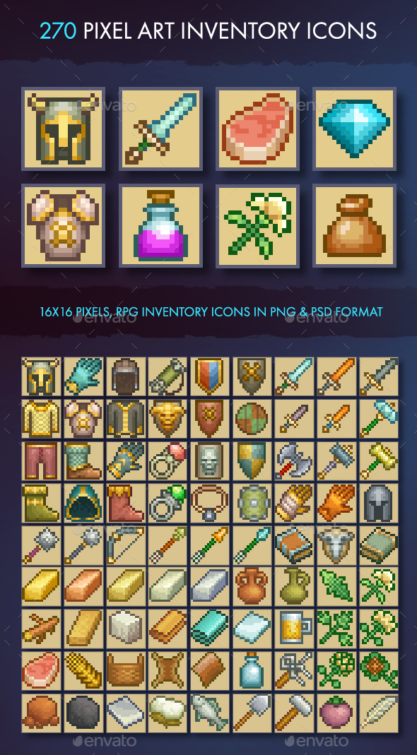 Pixel Art Inventory Icons - 16x16 - Miscellaneous Game Assets