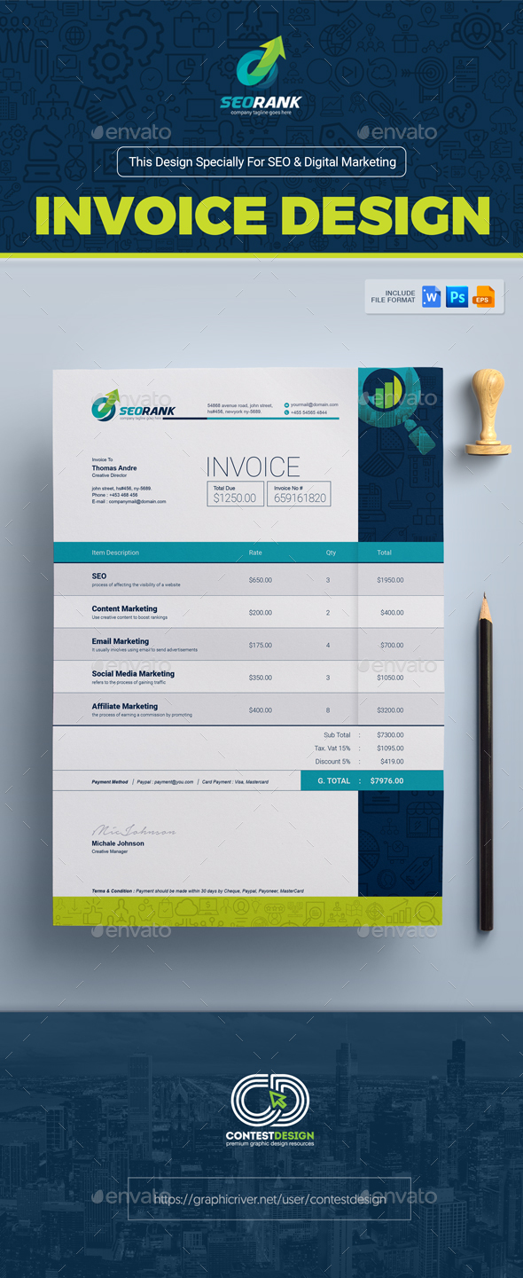 invoice template for seo search engine optimization digital marketing agency company by. Black Bedroom Furniture Sets. Home Design Ideas