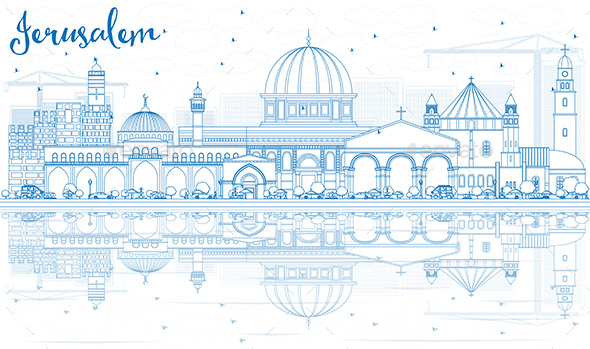 Outline Jerusalem Skyline with Blue Buildings and Reflections. - Buildings Objects