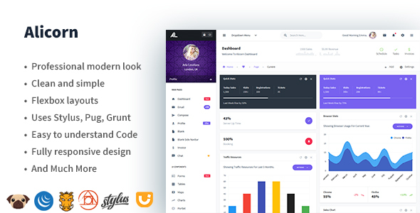 Alicorn - Neat Admin Dashboard - Admin Templates Site Templates
