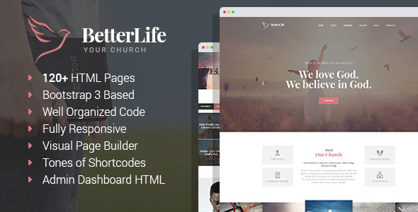 BetterLife – Church & Religious HTML template with Visual Page Builder and Dashboard HTML