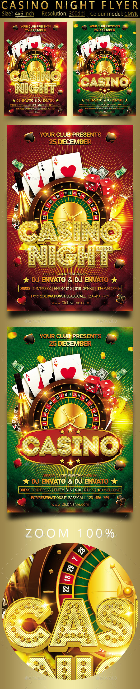 Casino Night Flyer 2in1 - Clubs & Parties Events