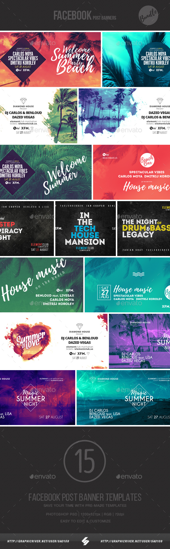 Electronic Music Event Facebook Post Banner Templates Bundle 4 - Social Media Web Elements