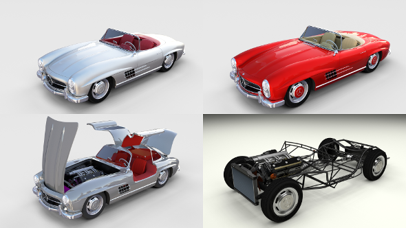 Mercedes 300SL with chassis Pack - 3DOcean Item for Sale