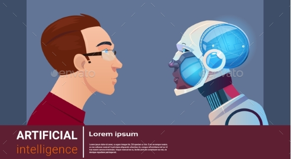 Artificial Intelligence Man With Modern Robot - Technology Conceptual
