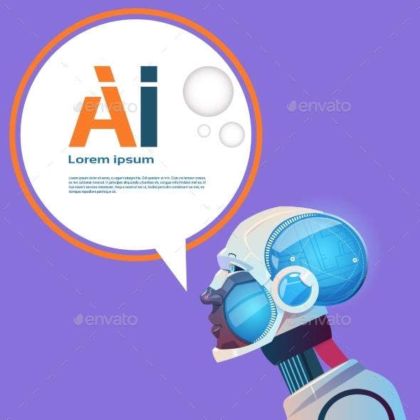 Artificial Intelligence Modern Robot Brain - Technology Conceptual