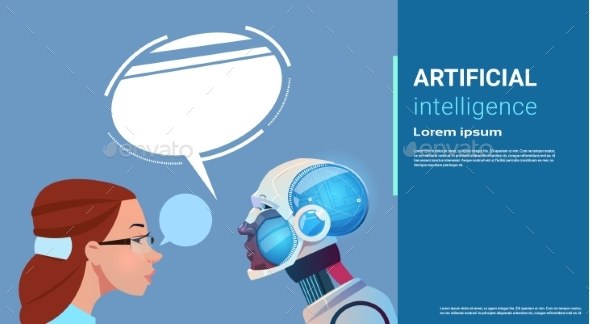 Artificial Intelligence Woman With Modern Robot - Technology Conceptual