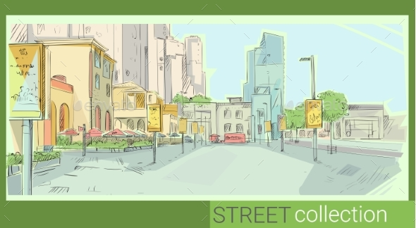 Retro Sketch City Fashion Street Collection - Man-made Objects Objects