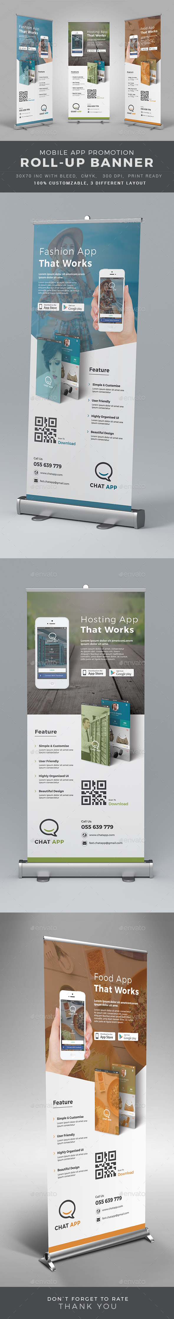 Mobile App Roll-up Banner - Signage Print Templates