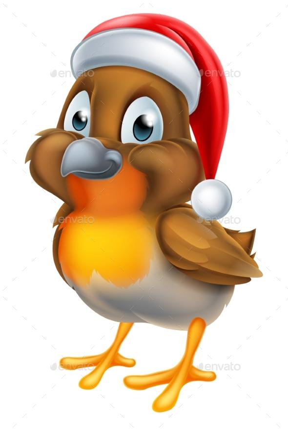 Robin Christmas Bird Cartoon - Animals Characters