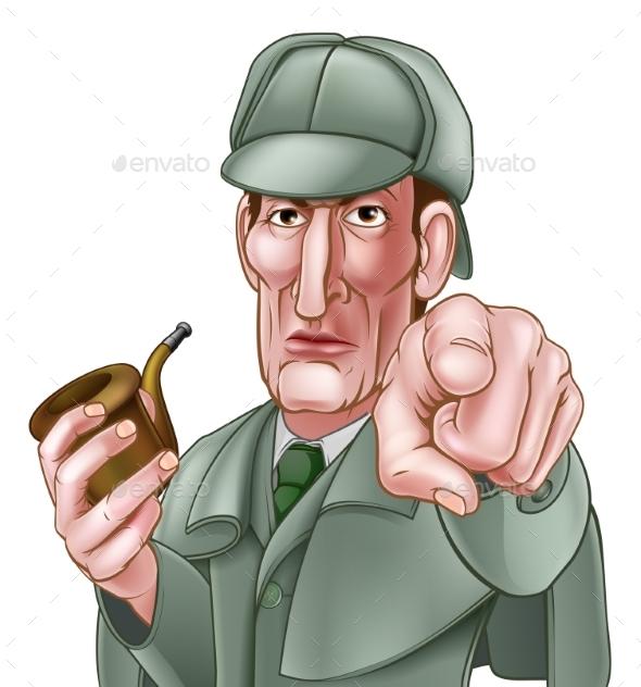 Sherlock Holmes Pointing Cartoon - People Characters