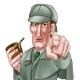 Sherlock Holmes Pointing Cartoon