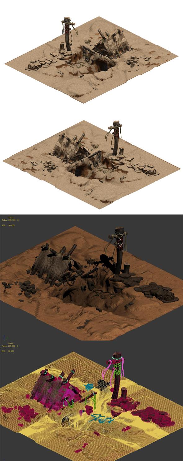 Desert - Monster Lair 001 - 3DOcean Item for Sale