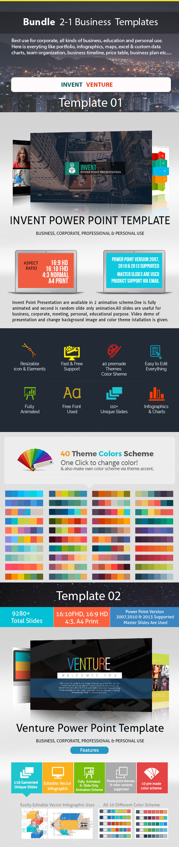 Business Bundle 2 in 1 Power Point Presentation - Business PowerPoint Templates