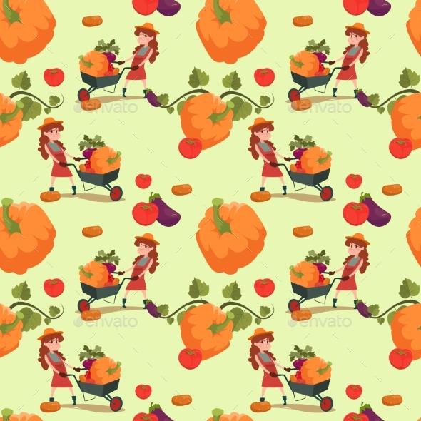 Farmers Pumpkin Fresh Vegetables Farming Seamless - Miscellaneous Vectors