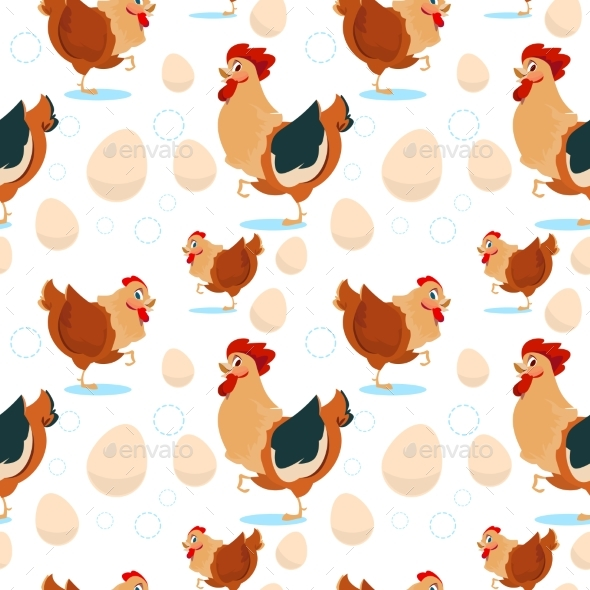 Chicken And Rooster Farming Seamless Pattern - Miscellaneous Vectors