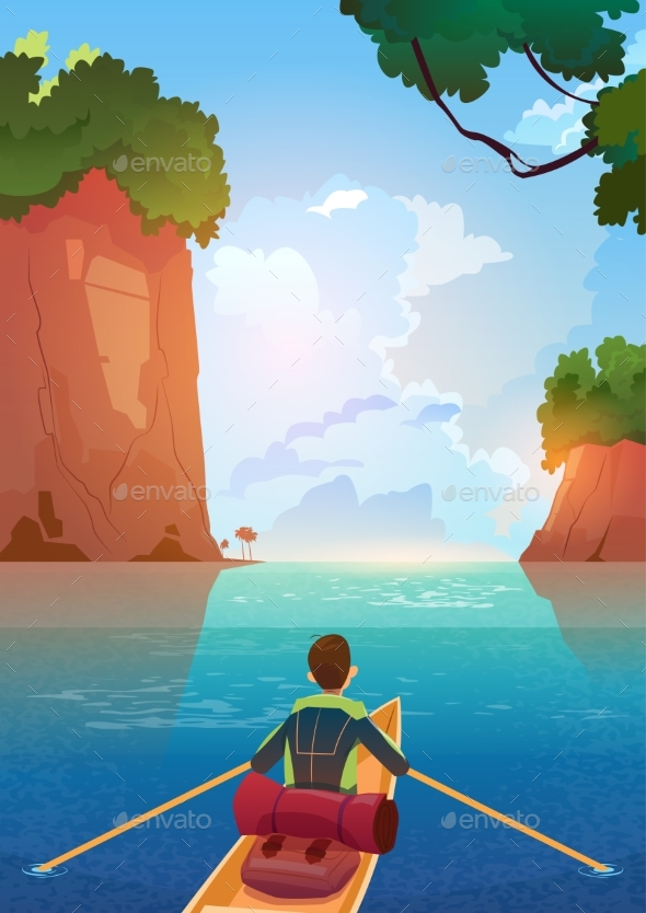 Man Floating In Boat In Mountains Lake Summer - Sports/Activity Conceptual