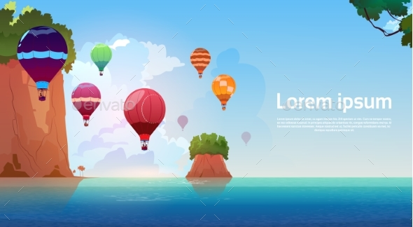 Air Balloons Flying Over Summer Sea Landscape - Landscapes Nature