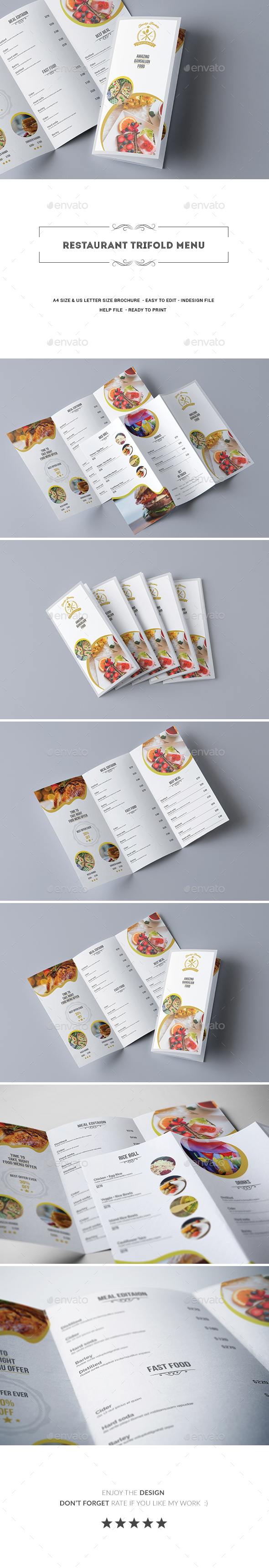 Restaurant Trifold Menu - Food Menus Print Templates