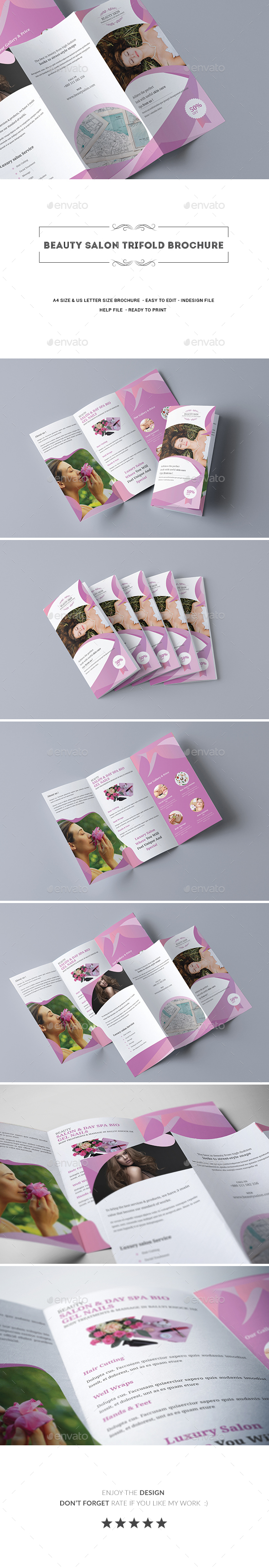 Beauty Salon Trifold Brochure - Informational Brochures