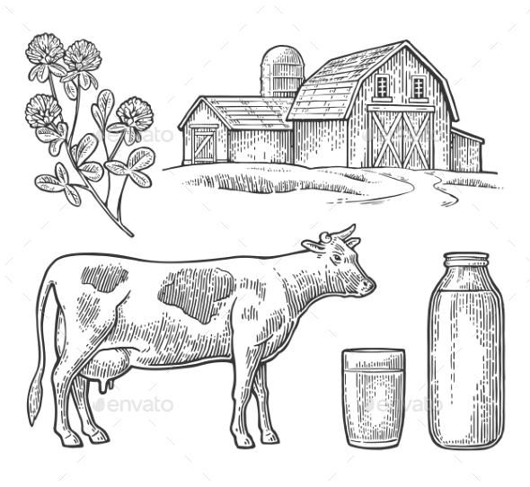 Milk Farm Set - Food Objects
