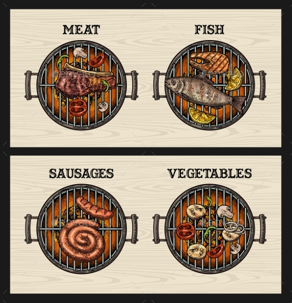 Barbecue Grill Top View - Food Objects