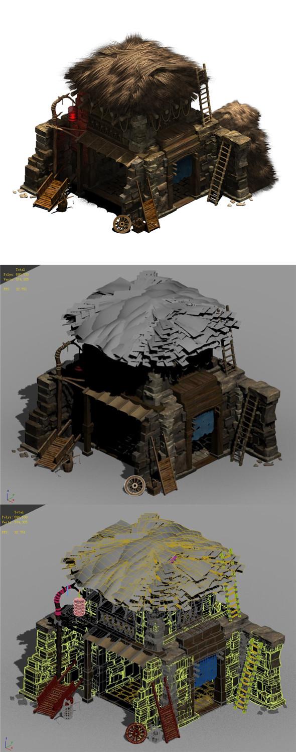 Desert - Stone House 05 - 3DOcean Item for Sale