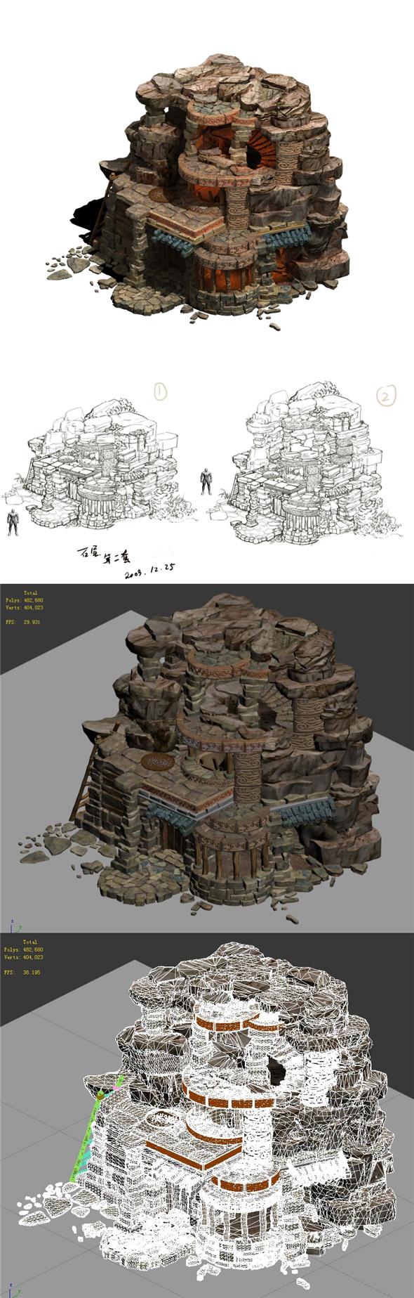 Desert - stone house 01 - 3DOcean Item for Sale