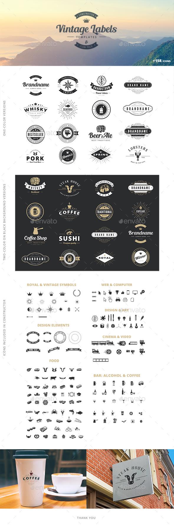 Vintage Label Badge Logo Constructor - Badges & Stickers Web Elements