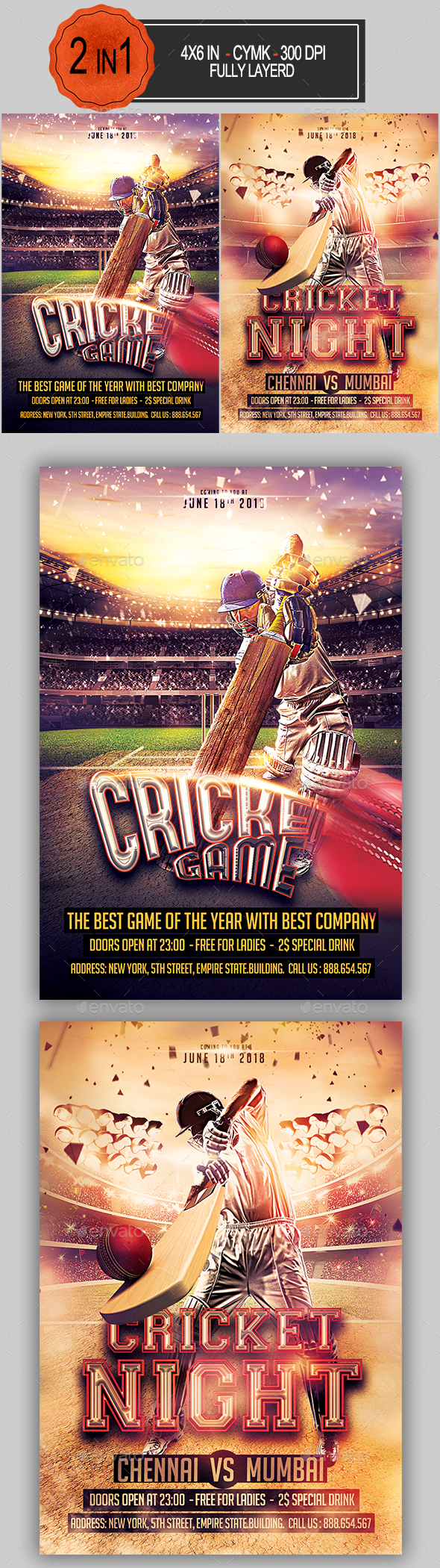 Cricket Flyer Bundle - Sports Events
