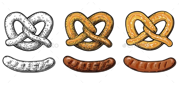 Pretzel and Sausage Vintage Vector - Food Objects