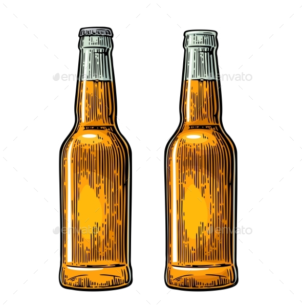 Vintage Open and Closed Beer Bottles - Food Objects