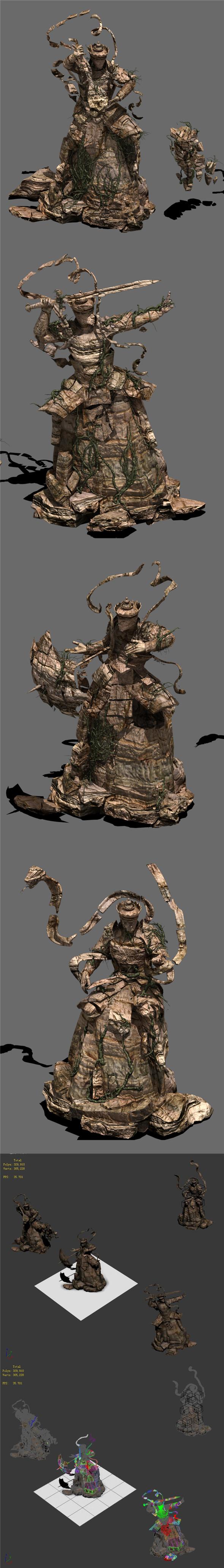 Landscape stone carvings - four kings - 3DOcean Item for Sale