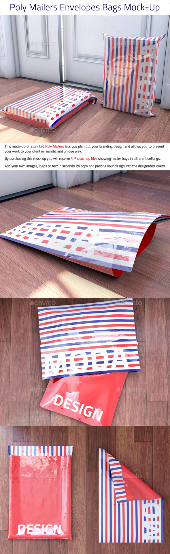 Poly Mailers Envelopes Bags Mock-Up - Packaging Product Mock-Ups