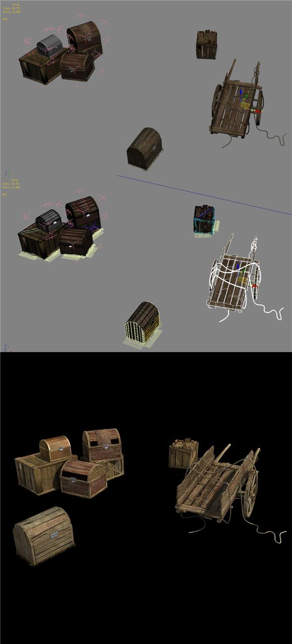 Wangcheng Escort - Wooden car - wooden box - 3DOcean Item for Sale