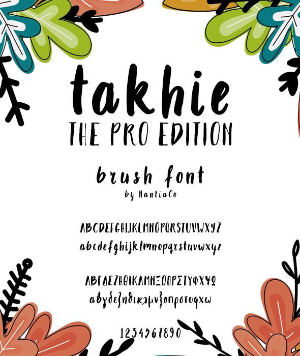 Takhie Pro | Multilingual Brush Font - Hand-writing Script